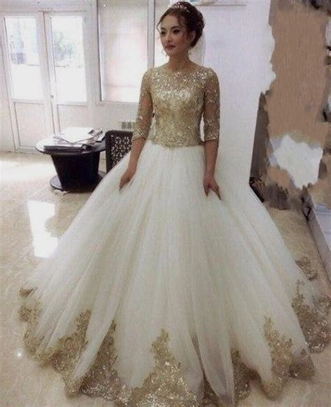 Gold Wedding Dresses by Gold Wedding Dress With Sleeves Naf Dresses