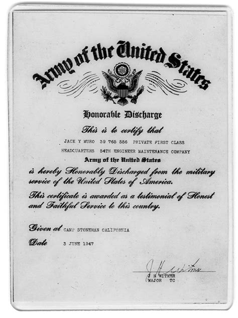army honorable discharge certificate