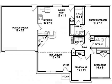 3 bed 3 bath 3 bedroom 2 bath ranch floor plans floor plans for 3
