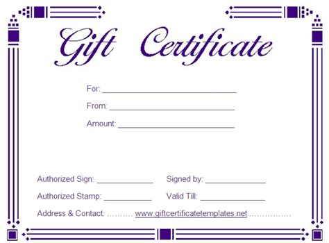 simple certificate template gift certificate templates