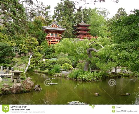 Japanese House And Garden by Japanese House And Garden With Lake Stock Image Image