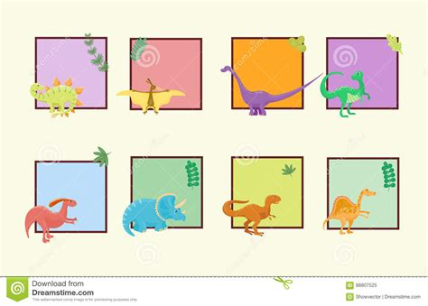puzzle and dragons card template dinosaurs vector illustration card
