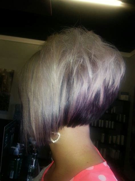 short back long frontvwith bangs love the stack in back and was thinking about longer