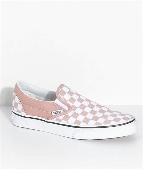 light blue and pink vans vans slip on checkered shoes zumiez