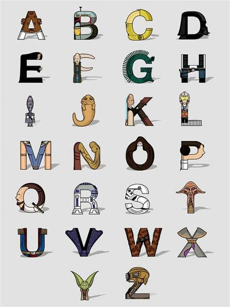 typographic star wars prints featuring iconic characters genius galactic typeface star wars alphabet