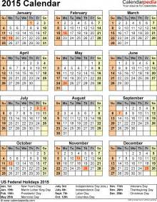 calendar 2015 with holidays template 2015 calendar with federal holidays excel pdf word templates