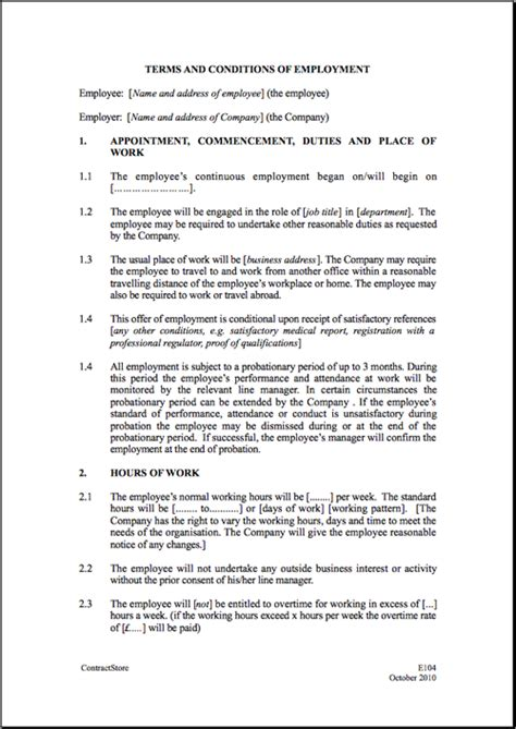 work contracts templates free printable employment contract sle form generic