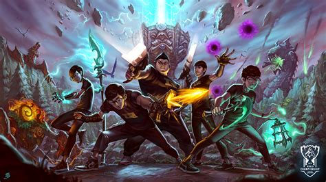 fortnite vs league of legends confira os wallpapers de cada equipe do mundial de league