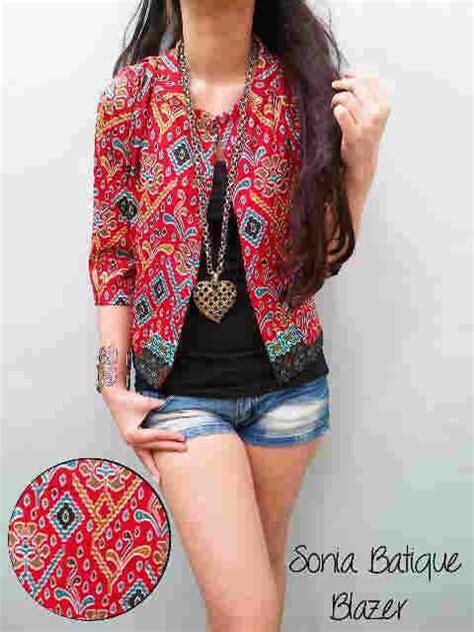 Baju Wanita Bagus Murah Maxi Corak Merah blazer batik modern murah v103