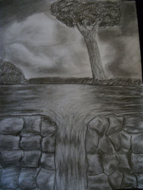 Pencil Drawing Waterfall