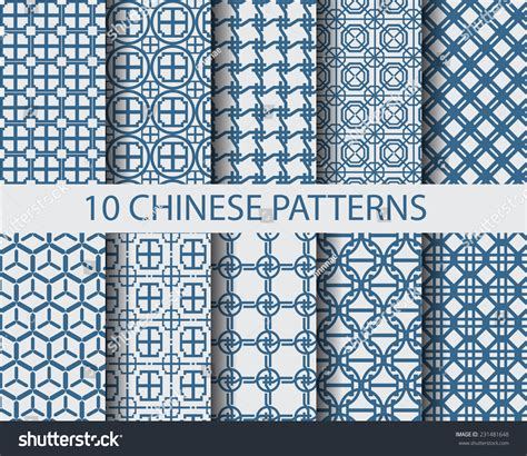 texture pattern swatches 10 different chinese traditional seamless patterns stock