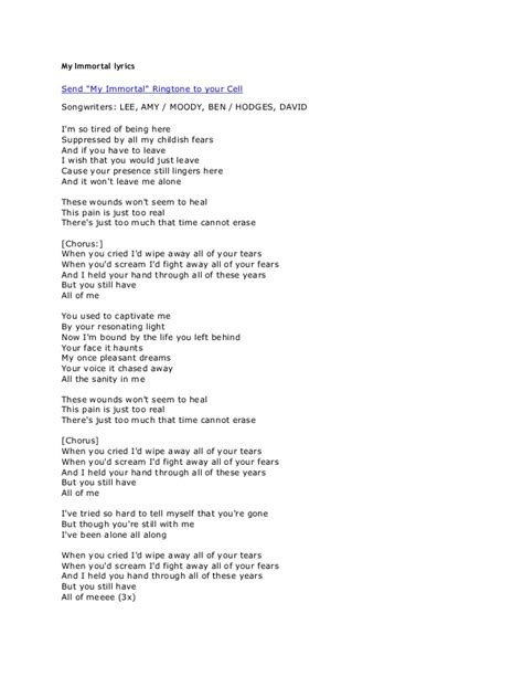 my lyrics my immortal lyrics