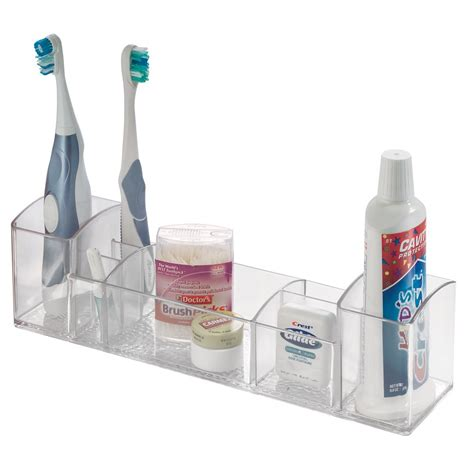 bathroom toiletry storage interdesign bathroom tray organizer vanity toothbrush