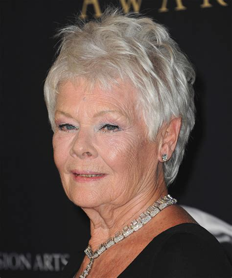 how to cut judi dench bangs judi dench short straight casual hairstyle light grey