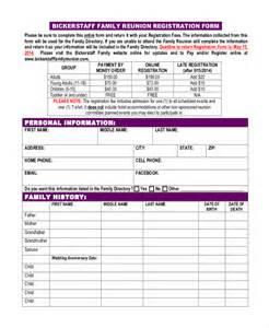 free printable family reunion registration form