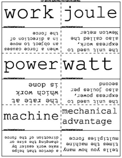 physics of work and power flash cards