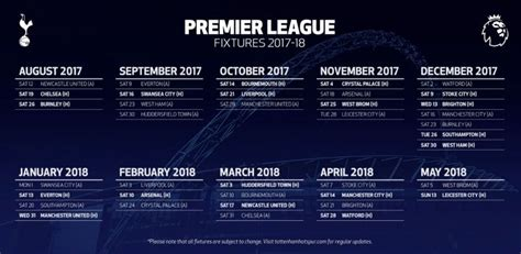 epl table fixtures and results 2017 18 tottenham hotspur 2017 18 fixtures in premier league