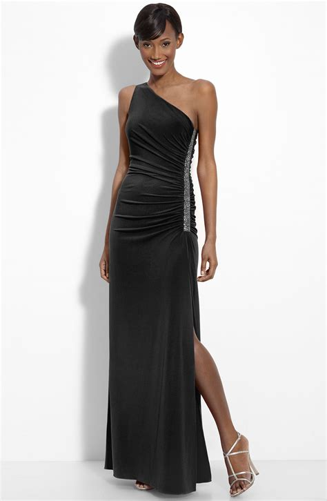 black beaded gown laundry by shelli segal black beaded panel one shoulder