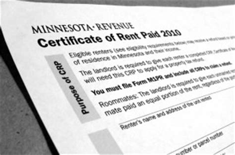 Rent Credit Form Mn 2014 1 31 14 Deadline For Crp Form For Your Renters Credit Refund