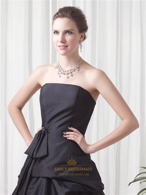 prom dress upskirt black strapless lace up back taffeta prom dress with pick
