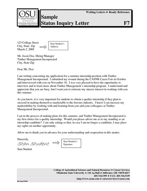 best photos of application status inquiry letter