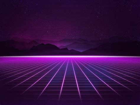 wallpaper neon synthwave retrowave grid mountains