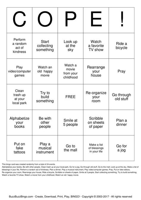 Coping Card Template by Coping Skills Bingo Cards To Print And Customize