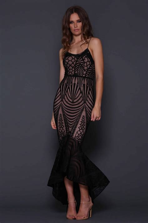 Black Zarla Fishtail Dress elle zeitoune in stock dress uk dresses