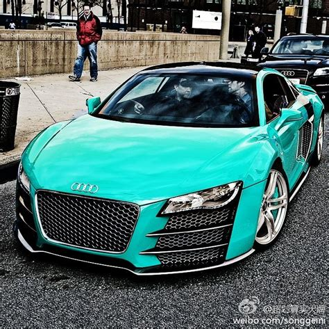 teal green car audi r8 in tiffany blue if i could have a car in my