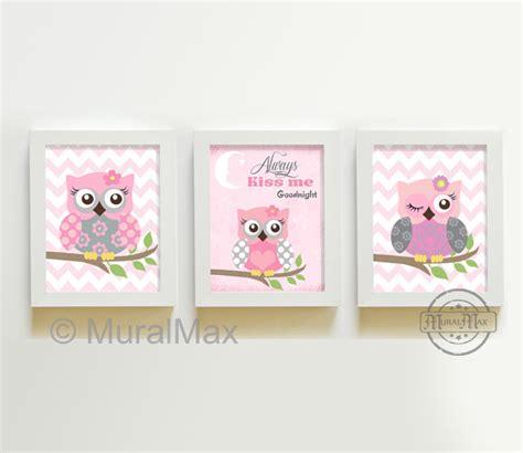 pink and gray owl nursery decor owl print wall set of