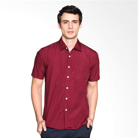 Kemeja Polos Maroon jual vm polos katun pendek slimfit kemeja pria merah maroon harga kualitas terjamin