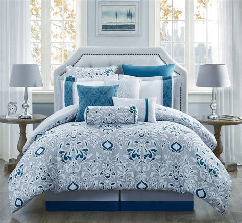 Teal Bedding by 10 Teal Gray Ivory Reversible Comforter Set Ebay