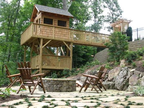sloped backyard deck ideas sloped woodland patios traditional landscape atlanta