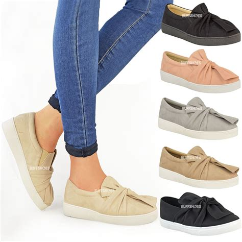 Flat Shoes Nk01 Nike Slip new womens trainers faux suede slip on flat bow