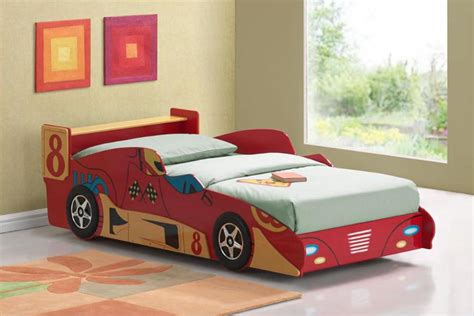 Astonishing bedroom incredible car shaped master bed in red color for