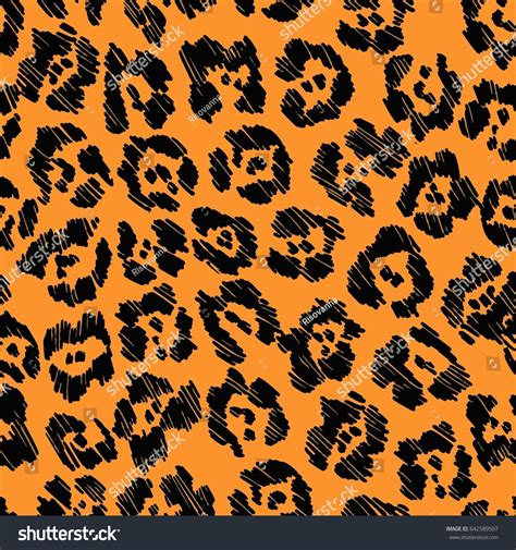 black jaguar pattern seamless black orange vector jaguar pattern stock vector