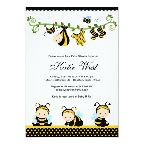 Personalized Bumble Bee Baby Invitations Custominvitations4u Com Bumble Bee Invitation Template Free
