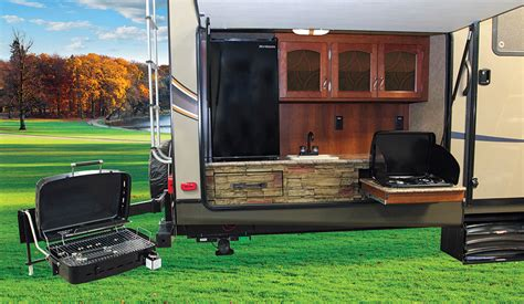 Kitchen Setup Ideas by Camping Trailer Bumper Mounted Propane Grill Or