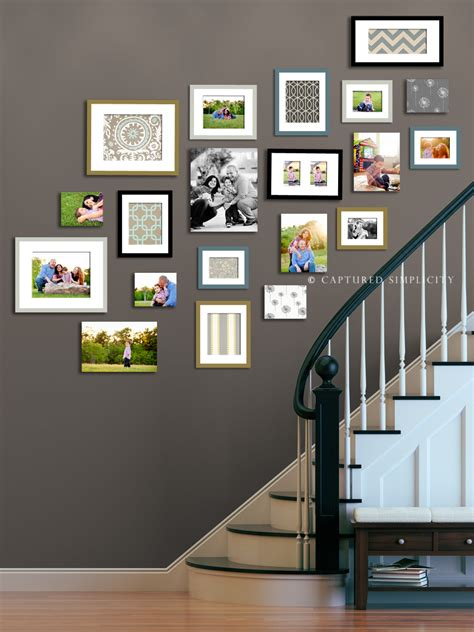 ideas for displaying photos on wall stairway displays wall collage ideas child family