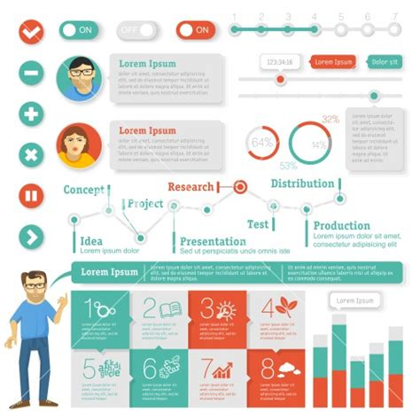 flat interface design element set vector infographic
