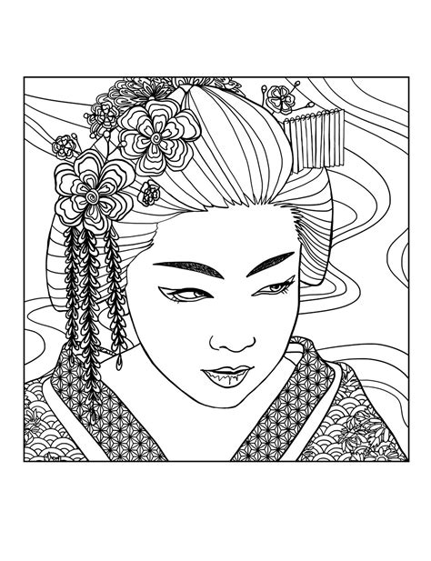 coloring pages for adults japan japan coloring pages for adults coloring adult geisha