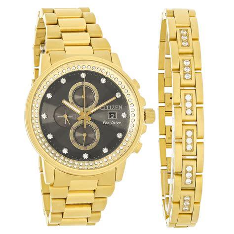 citizen eco drive nighthawk mens gold tone with bracelet