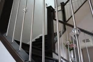Contemporary Banister Rails Stainless Steel Spindles Mixed With Crystal Detail