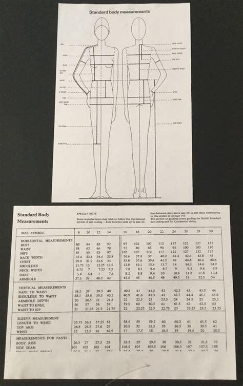 pattern making measurement chart standard body measurement chart pattern making garment