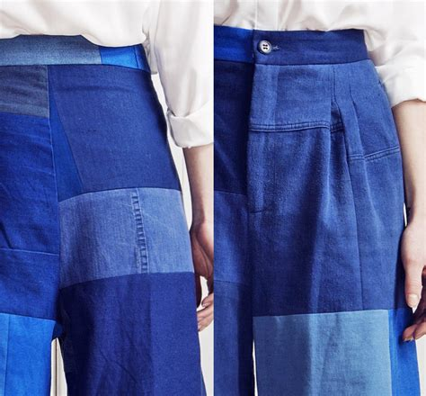 Patchwork Denim Trend - rodebjer womens wide leg patchwork pant mina denim