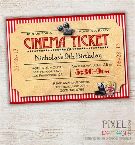 printable evening invitations printable birthday invitation movie party invitation