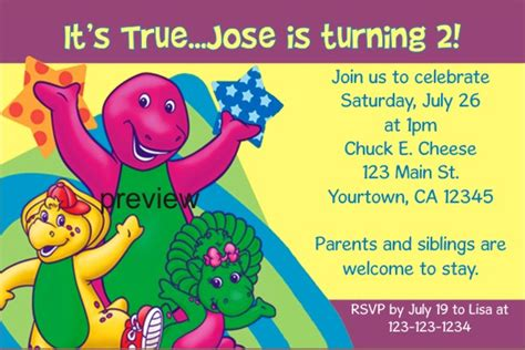 barney birthday invitation card template barney birthday invitations ideas bagvania free