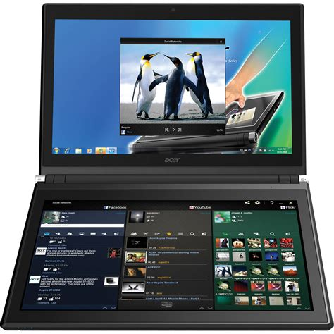 Laptop Acer Dual acer iconia 6120 14 quot dual screen touchbook lx rf702 052 b h