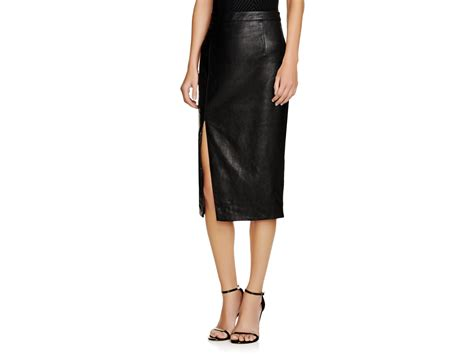 bardot faux leather side slit pencil skirt in black lyst