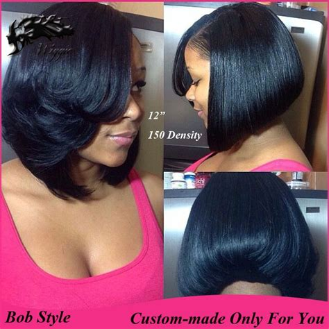 layered bob haircut american layered bob 150 density custom made 100 human hair